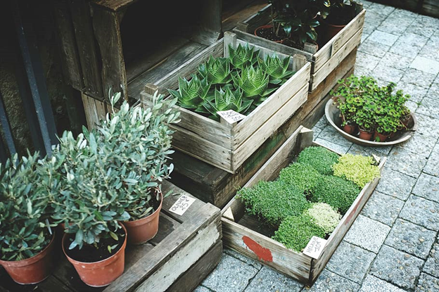 Use planter boxes for a great alternative to real plants